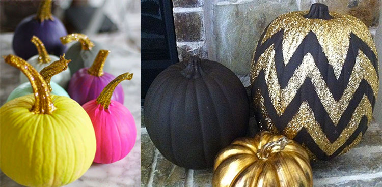 colourful & glittery pumpkins for Halloween