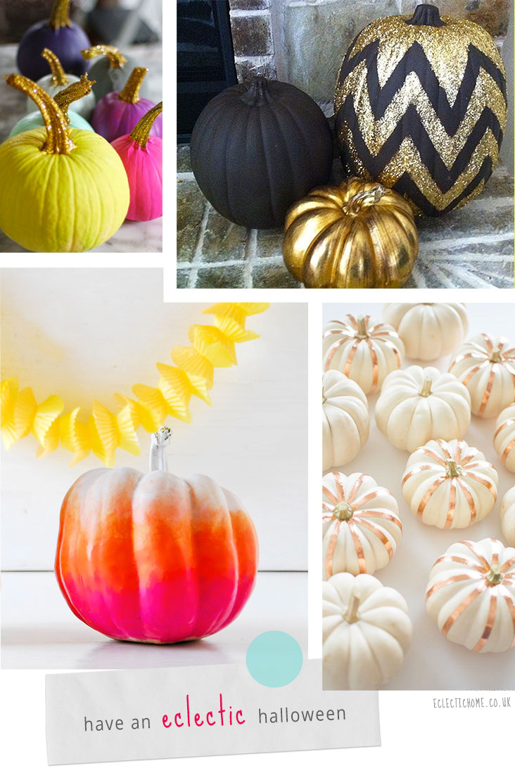 Round up of colourful and glittery pumpkin DIYs for #Halloween.  Images © 1) AuntPeaches.com, 2) Unknown, 3) HomeyOhMy.com & 4) Fun.kyti.me.  #Pumpkins collated by EclecticHome.co.uk
