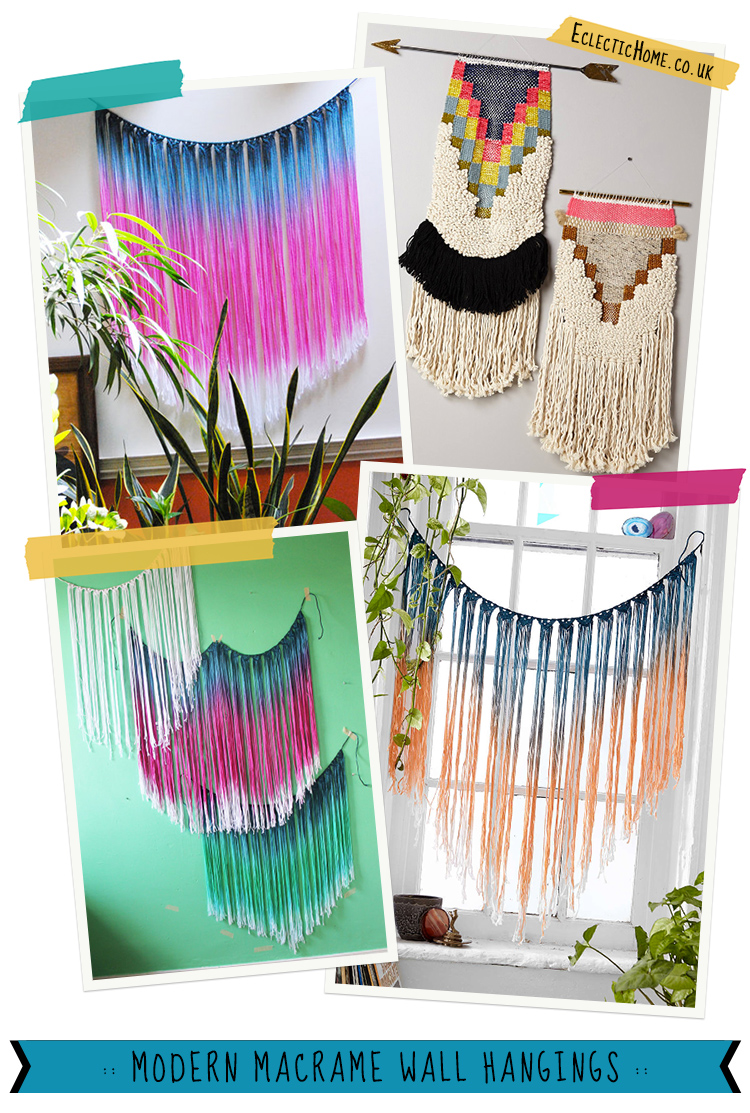 Gorgeous modern macrame wall hangings, find out where to get them at EclecticHome.co.uk