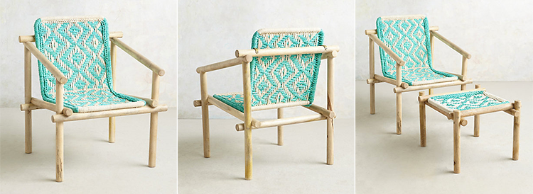 Anthropologie Diamond Weave Chair