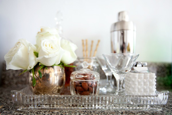 glass and metallic accents