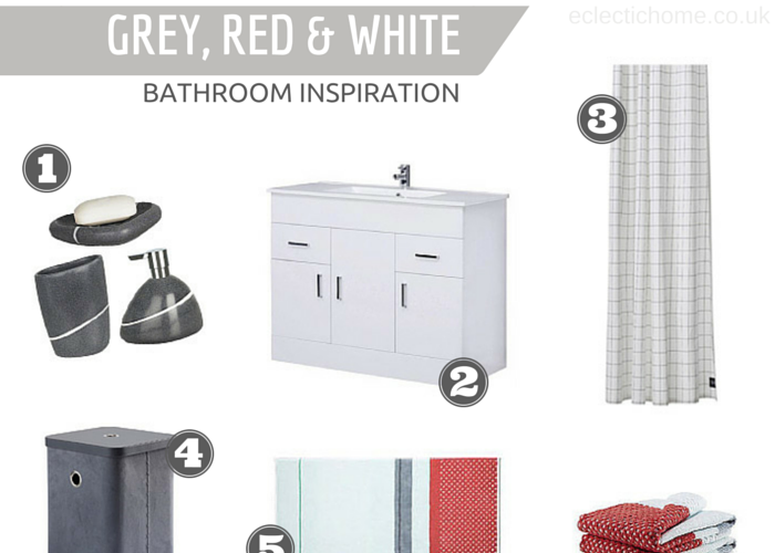 Bathroom inspiration: grey, red & white