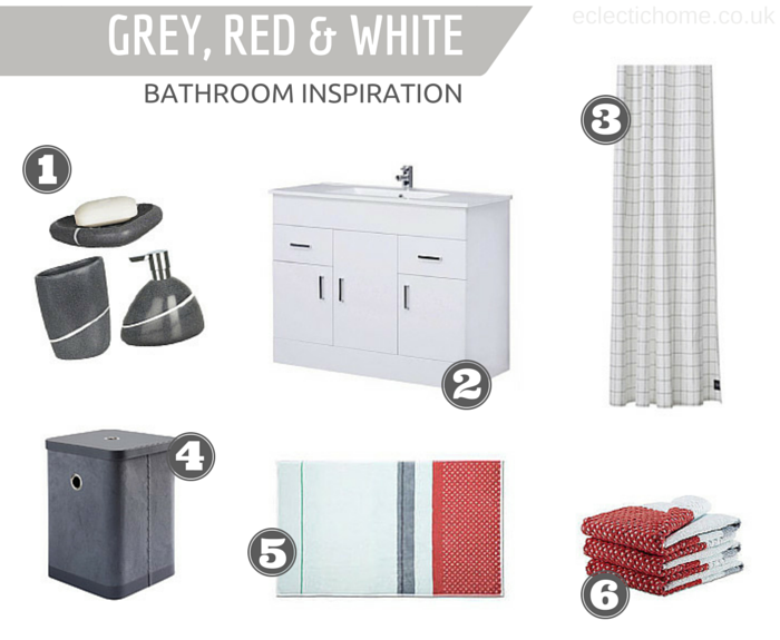 Bathroom inspiration: grey, red & white