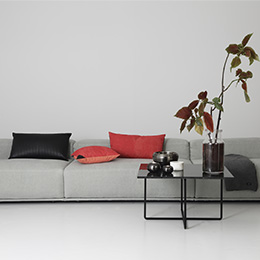 Grey, Black, Red and Gunmetal colour scheme for living room