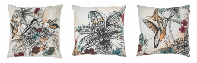 Botantical print cushions with a pop of colour