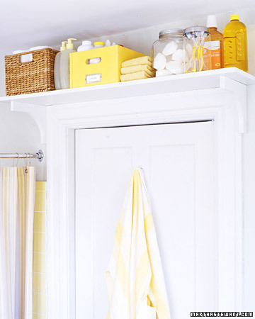bright bathroom storage