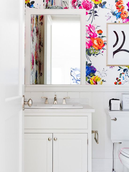 Brights and florals in the bathroom.  Source:  http://www.lynnescalo.com/