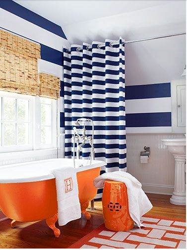 Bright stripe bathroom