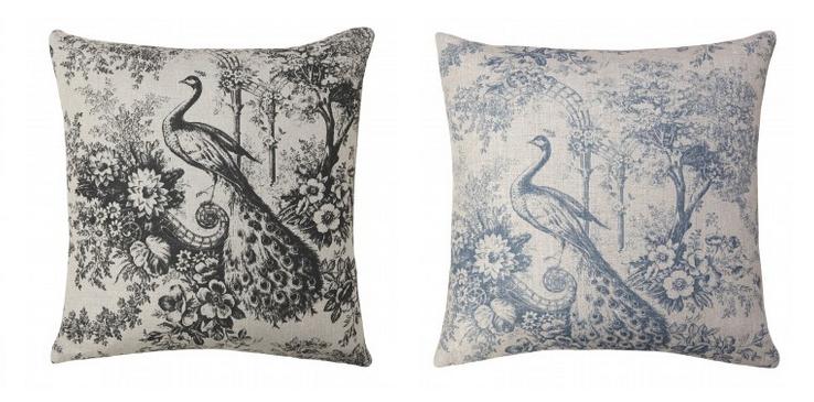 Peacock Joile de Jouy Printed Cushions