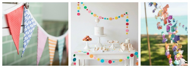 colourful summer party ideas - bunting, confetti garlands and paper garlands
