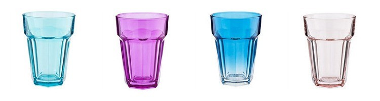 brightly coloured soda glasses