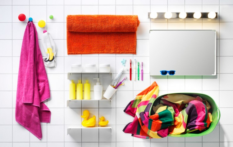 bright and bold bathroom accessories