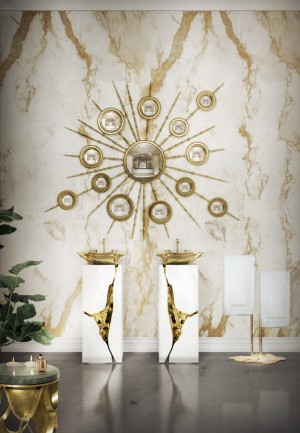 Dramatic bathroom accessories in gold and white
